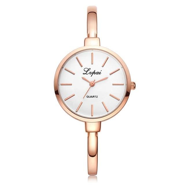 2017 LVPAI Brand Rose Gold Women Bracelet Watches Fashion Luxury Quartz-Watches Ladies Casual Dress Rose Gold White