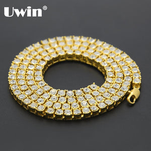 2017 Mens Hip Hop Bling Bling Iced Out Tennis Chain 1 Row Necklaces Luxury Brand Gold Men Chain
