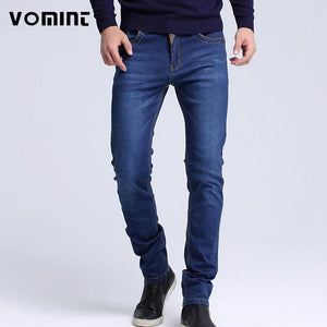 2017 Mens jeans New Fashion Men Casual Jeans Slim Straight High Elasticity Feet Jeans Loose Waist