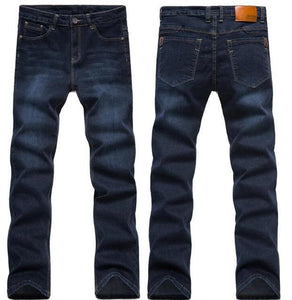 2017 Mens Jeans New Fashion Men Casual Jeans Slim Straight High Elasticity Feet Jeans Loose Waist 1682Black Blue / 42