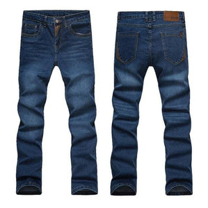 2017 Mens Jeans New Fashion Men Casual Jeans Slim Straight High Elasticity Feet Jeans Loose Waist Blue604 / 42