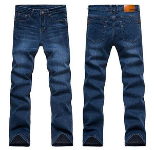2017 Mens Jeans New Fashion Men Casual Jeans Slim Straight High Elasticity Feet Jeans Loose Waist 1682Blue / 28