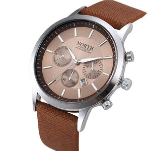 2017 Mens Watches NORTH Brand Luxury Casual Military Quartz Sports Wristwatch Leather Strap Male Coffee