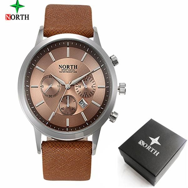 2017 Mens Watches NORTH Brand Luxury Casual Military Quartz Sports Wristwatch Leather Strap Male Grey