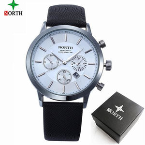 2017 Mens Watches NORTH Brand Luxury Casual Military Quartz Sports Wristwatch Leather Strap Male Green