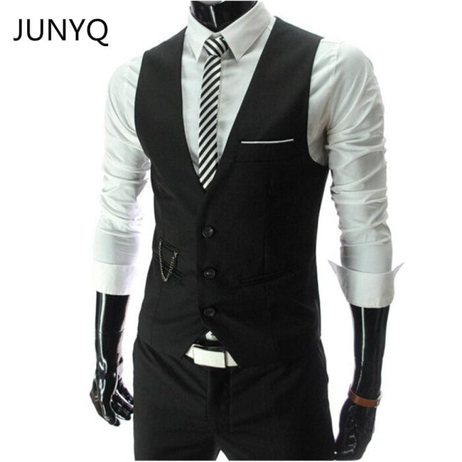 2017 New Arrival Dress Vests For Men Slim Fit Mens Suit Vest Male Waistcoat Gilet Homme Casual - MBMCITY