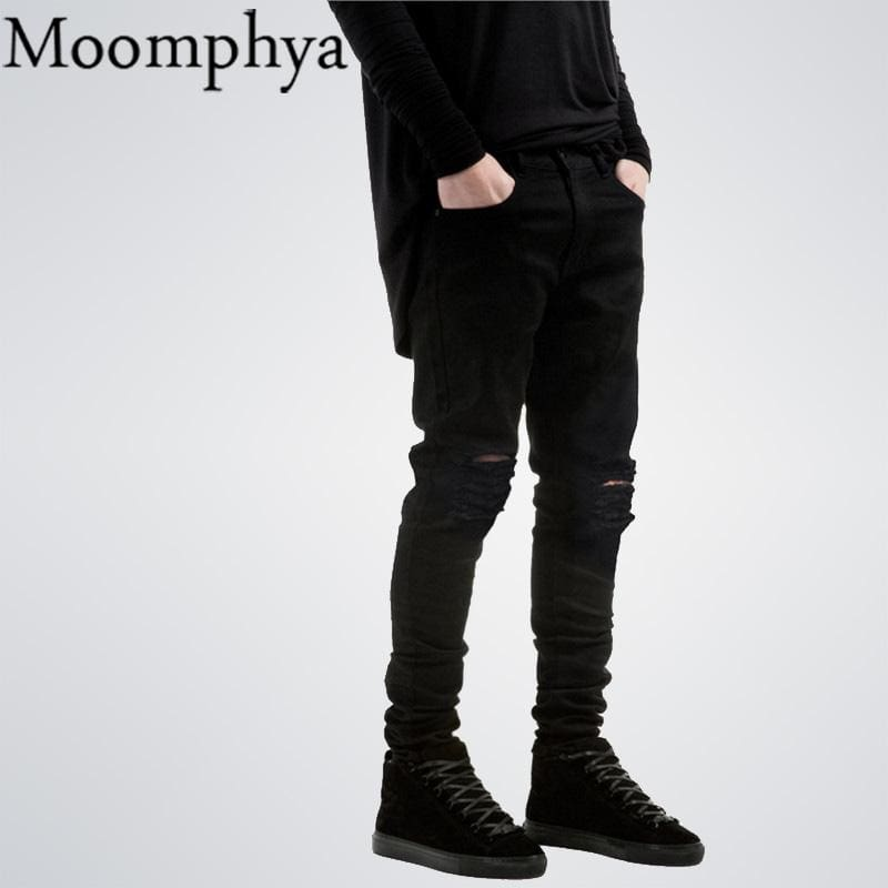 2017 New Black Ripped Jeans Men With Holes Denim Super Skinny Famous Designer Brand Slim Fit Jean - MBMCITY