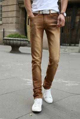 2017 New Fashion Men's Casual Stretch Skinny Jeans Trousers Tight Pants Solid Colors - MBMCITY