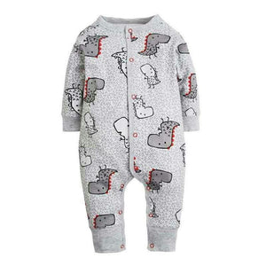 2017 New Fashion Newborn Baby Ropmer Cartoon Car Long Sleeve Baby Boy Girl Clothes 100% Cotton