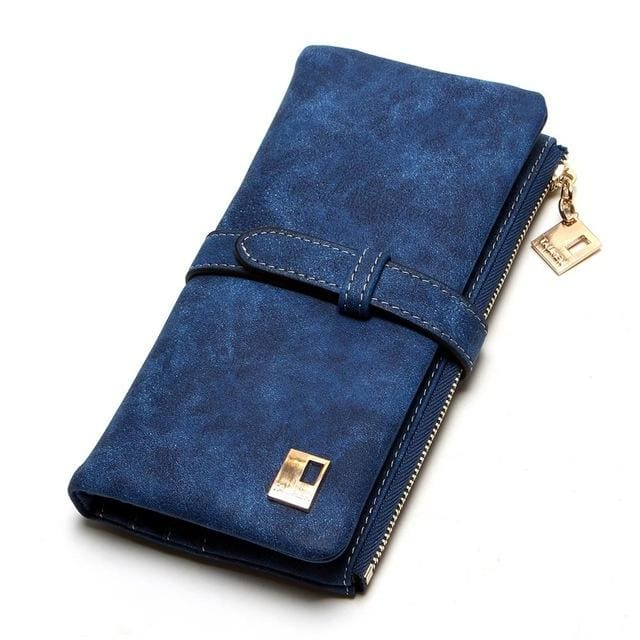 2017 New Fashion Women Wallets Drawstring Nubuck Leather Zipper Wallet Womens Long Design Purse Two Blue