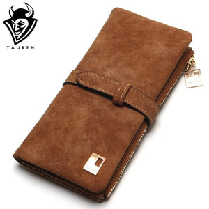2017 New Fashion Women Wallets Drawstring Nubuck Leather Zipper Wallet Womens Long Design Purse Two