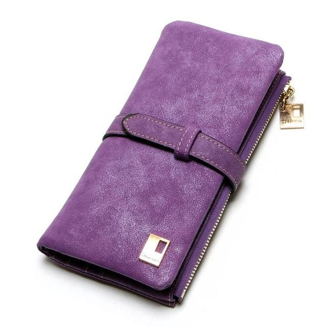 2017 New Fashion Women Wallets Drawstring Nubuck Leather Zipper Wallet Womens Long Design Purse Two Purple