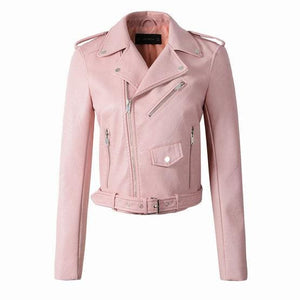 New Fashion Women Wine Red Faux Leather Jackets Lady Bomber Motorcycle Cool Outerwear Coat with - MBMCITY