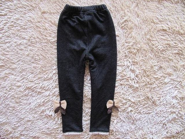 2017 new kids girls jean bow pants cotton cashmere pants elastic waist girls legging warm pants