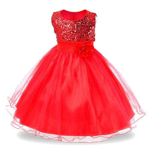 2017 New Kids Girls Wedding Flower Girl Dress Princess Party Pageant Formal Dress Sleeveless Dress - MBMCITY