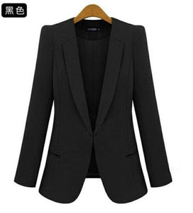 2017 New Plus Size Womens Business Suits Spring Autumn All-Match Women Blazers Jackets Short Slim Black / Xs