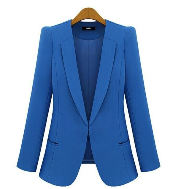 2017 New Plus Size Womens Business Suits Spring Autumn All-Match Women Blazers Jackets Short Slim Blue / Xs