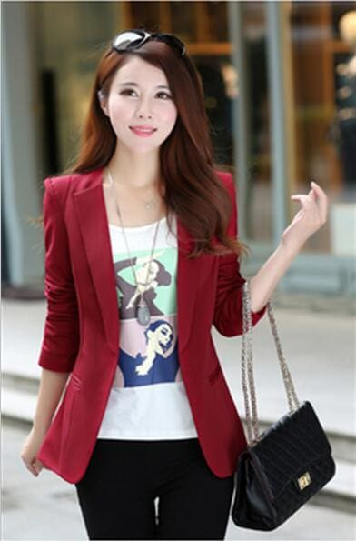 2017 New Plus Size Womens Business Suits Spring Autumn All-Match Women Blazers Jackets Short Slim Burgundy / Xs