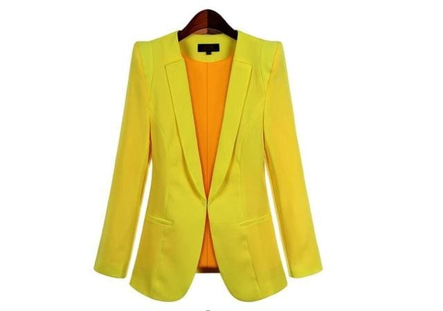 2017 New Plus Size Womens Business Suits Spring Autumn All-Match Women Blazers Jackets Short Slim Yellow / Xs