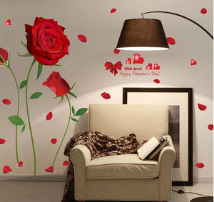 2017 new Removable Red Rose Life Is The Flower Quote Wall Sticker Mural Decal Home Room Art Decor.