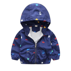 2017 New Summer & autumn children jackets casual hooded kids outerwear/coats 1-7T blue and whith - MBMCITY