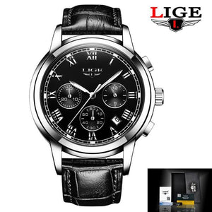 2017 New Watches Men Luxury Brand LIGE Chronograph Men Sports Watches Waterproof Leather Quartz Man.