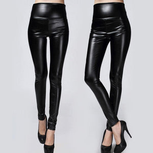 2017 New Winter Thickened Leggings Skinny Pants Women Black Leather Warm Pants waist high trousers.