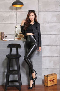 2017 New Winter Thickened Leggings Skinny Pants Women Black Leather Warm Pants waist high trousers Black PK01 / S