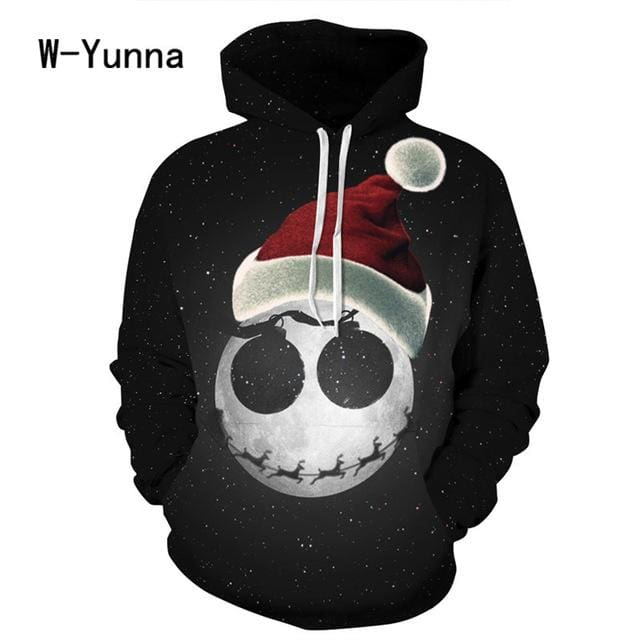 2017 Newest 3D Print Christmas Halloween Skull Theme Pullover Hoodies for Women/men Causal Loose - MBMCITY