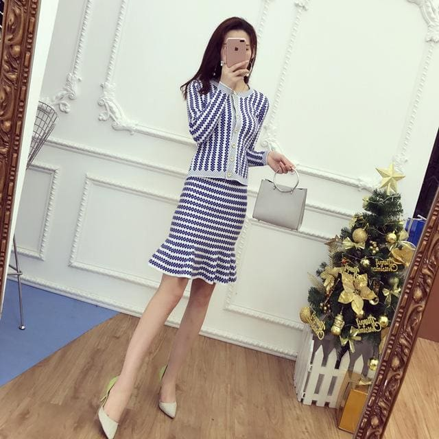 2017 Office Ladies Elegant Knit Cardigans + Step Skirt 2pcs Suits Short Slim Striped Sweater Tops Blue / One Size
