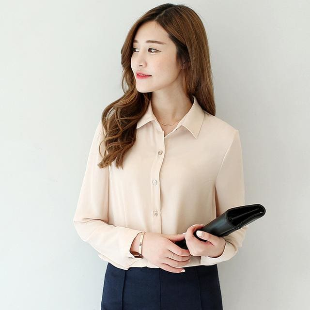 2017 spring new hot solid color lapel long sleeve shirts Plus Size shirt chiffon blouse shirt 04 / L
