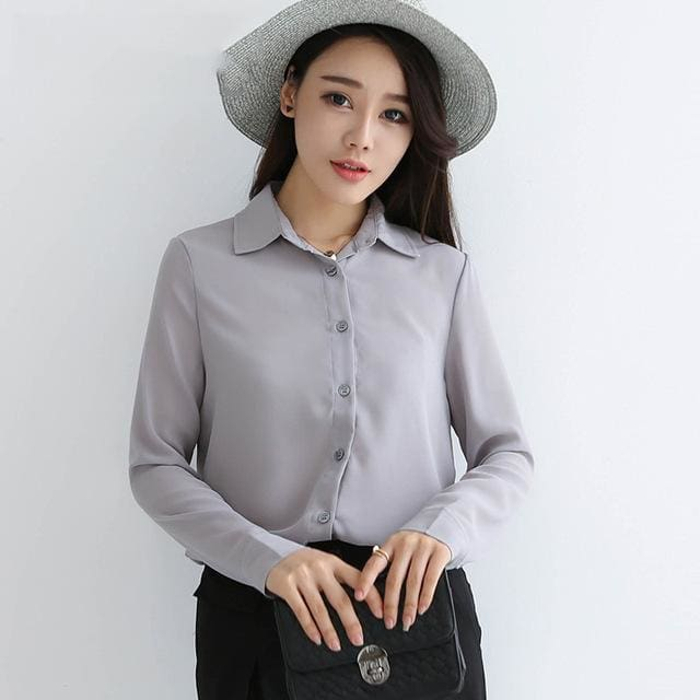 2017 spring new hot solid color lapel long sleeve shirts Plus Size shirt chiffon blouse shirt 13 / L
