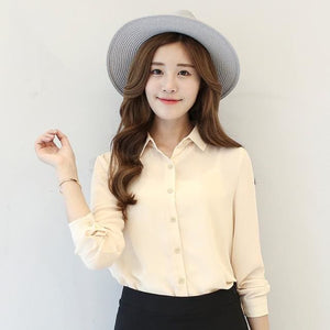 2017 spring new hot solid color lapel long sleeve shirts Plus Size shirt chiffon blouse shirt 07 / L