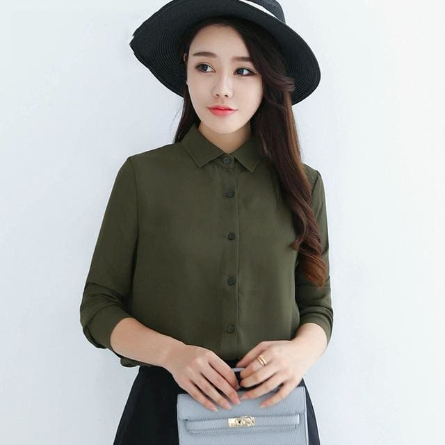 2017 spring new hot solid color lapel long sleeve shirts Plus Size shirt chiffon blouse shirt 03 / L