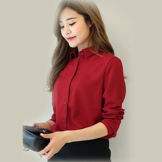 2017 spring new hot solid color lapel long sleeve shirts Plus Size shirt chiffon blouse shirt 01 / L