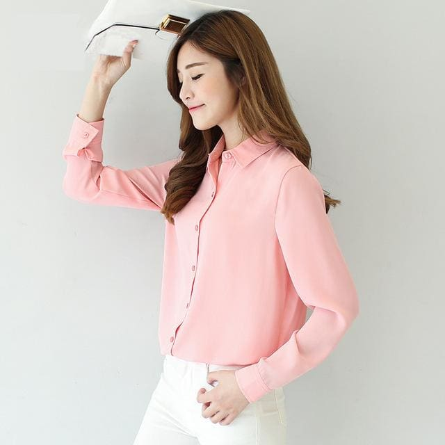 2017 spring new hot solid color lapel long sleeve shirts Plus Size shirt chiffon blouse shirt 05 / L