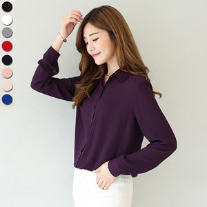 2017 spring new hot solid color lapel long sleeve shirts Plus Size shirt chiffon blouse shirt