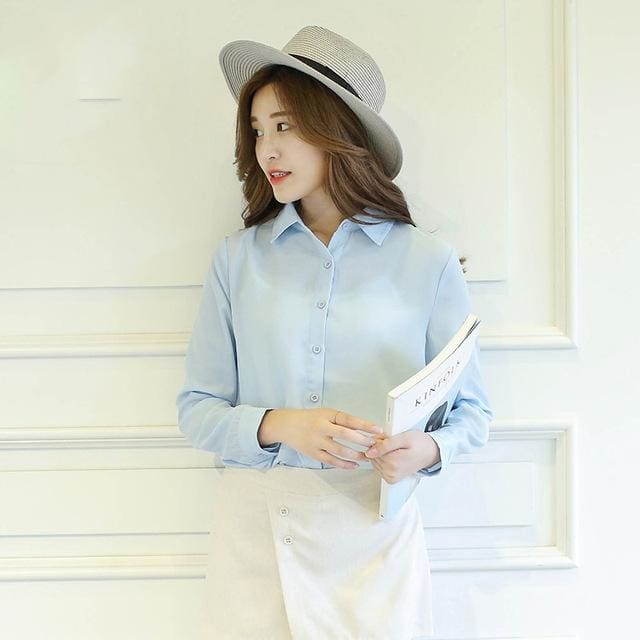 2017 Spring New Hot Solid Color Lapel Long Sleeve Shirts Plus Size Shirt Chiffon Blouse Shirt 11 / L