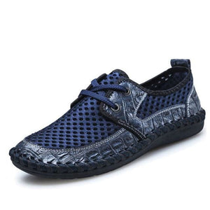 2017 Summer Breathable Mesh Shoes Mens Casual Shoes Genuine Leather Slip On Brand Fashion Summer