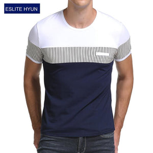 2017 Summer Fashion Mens T Shirt Casual Patchwork Short Sleeve T Shirt Mens Clothing Trend Casual