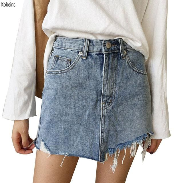 2017 Summer Jeans Skirt Women High Waist Jupe Irregular Edges Denim Skirts Female Mini Saia Washed Photo Color / L