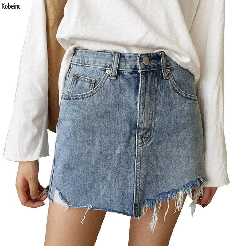2017 Summer Jeans Skirt Women High Waist Jupe Irregular Edges Denim Skirts Female Mini Saia Washed