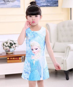 2017 Summer Style Girls Elsa Anna Princess Dresses Girl Butterfly Printed Sleeveless Formal Girl