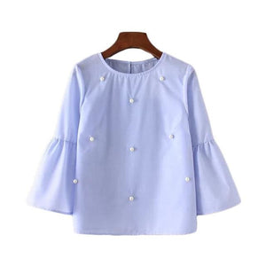 2017 Summer Women New Loose Casual Shirt Blouse Elegant Pearls O-Neck 3/4 Flare Sleeve Tops Blusas Sky Blue / L