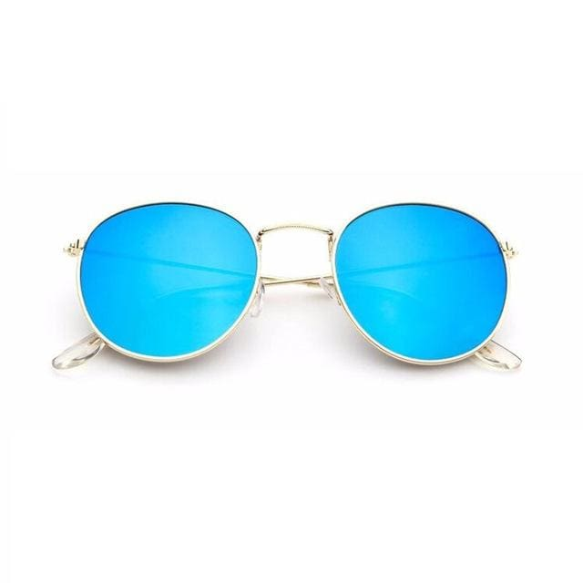 2017 Sun Glasses for Women Round Brand Designer Men Sunglasses Women Mirror Luxury Black Male GoldFrameBlue