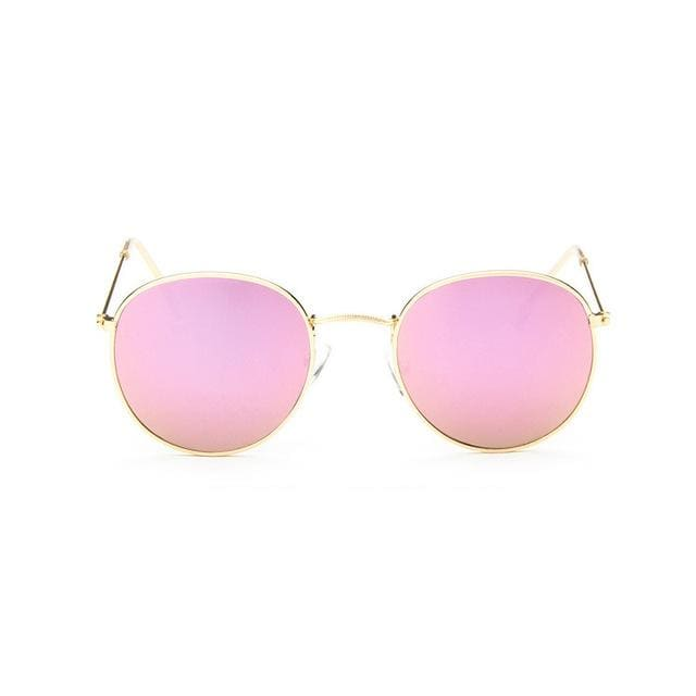 2017 Sun Glasses for Women Round Brand Designer Men Sunglasses Women Mirror Luxury Black Male Gold Frame pink