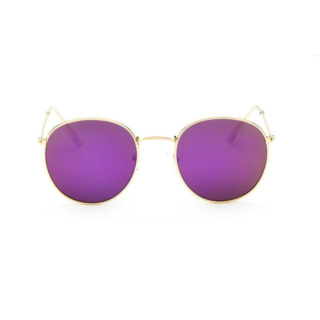 2017 Sun Glasses for Women Round Brand Designer Men Sunglasses Women Mirror Luxury Black Male GoldFrame Purple