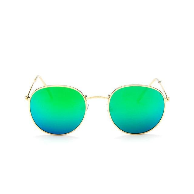 2017 Sun Glasses for Women Round Brand Designer Men Sunglasses Women Mirror Luxury Black Male GoldFrameGreen