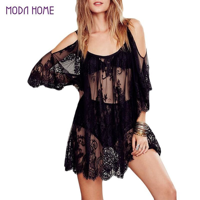 2017 Women Beach Dress Sexy Strap Sheer Floral Lace Embroidered Crochet Summer Dresses Hippie Boho - MBMCITY