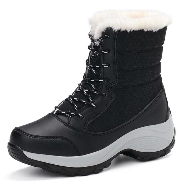 2017 women snow boots winter warm boots thick bottom platform waterproof ankle boots for women thick Black / 5